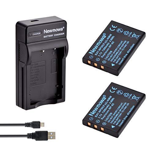 Newmowa NP-60 互換バッテリー 2個 + 充電器 対応機種 Fujifilm NP-60 FinePix 50i 601 F401 F410 F601 M603