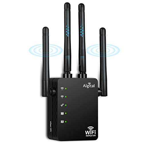 AC1200 WLAN Repeater Super-Boost WLAN Verstärker 1200Mbit/s Dual Band 867MBit/s 5GHz &300 MBit/s 2.4GHz mit 2 LAN Ports, 3dBi x4 Antennen kompatibel zu allen WLAN Geräten, Elegantes Design-Grau