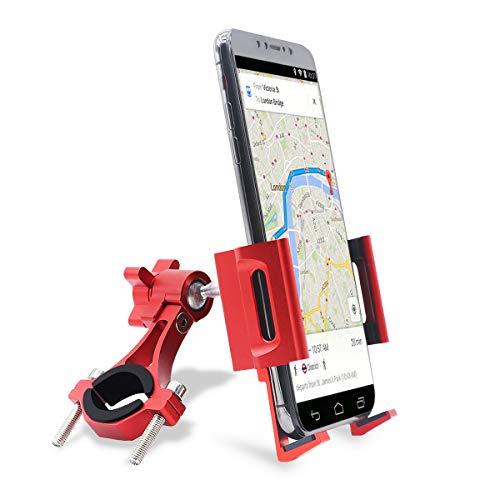 Fahrrad und Motorrad Handyhalterung, 360 ° -Drehung Aluminiumlegierung Universal Fahrrad Halterung Standhalterung Für 4,7-7,2 Zoll Smartphone (A-Rot)