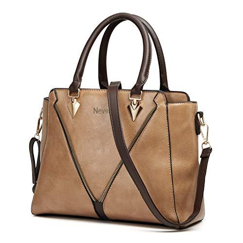 Handbags for Women Nevenka Women's Top Handle Purses and Handbags Fashionable Soft PU Leather Women's Shoulder handbags (Khaki)