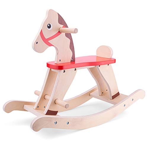 New Classic Toys 11145 Wooden Rocking Horse Educational Color Perception Toy for Preschool Age Toddlers Boys Girls, Red