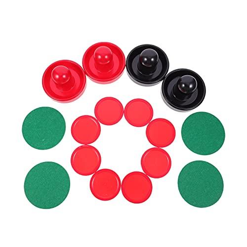 BESPORTBLE Airhockey Pushers Pucks Set 4 Schwarz und Rot Drücker 4 Grün Lints 8 Rot Pucks Ersatz Air Hockey Schieber Torgriffe Paddel für Spieltische 1 Set