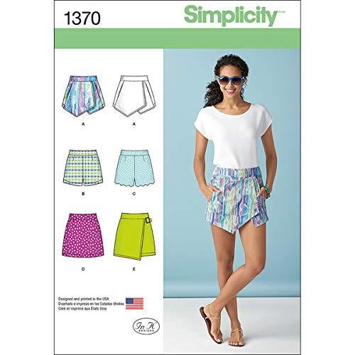 Simplicity 1370 Schnittmuster für Damen-Shorts, Skorts und Röcke, Größen 34-42