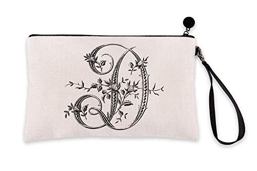 Di Lewis Personalized Makeup Bag for Women – Letter D French Monogram - Small Travel Organizer Toiletry Cosmetic Pouch – Best for Bridal, Bridesmaid, Teacher Gifts – 6x9 in