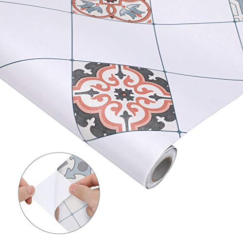Fliesensticker Folie Selbstklebende Klebefolie Mosaikfliese Küchenrückwand 61x500 cm PVC Fliesenfolie Tapete Wandaufkleber für Bad Küche Wand Dekorfolie
