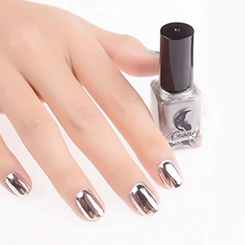 Nail Polish gLoaSublim 6ml Metallic Chrome Mirror Effect Sexy Nail Art Polish Varnish Manicure Tool - Silver