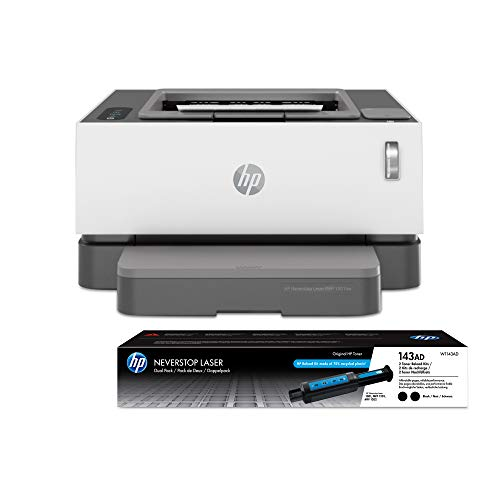 HP Neverstop Laser Printer 1001nw   Wireless Laser with Cartridge-Free Monochrome-Toner-Tank (5HG80A) with-Toner Reload-Kit 2-Pack