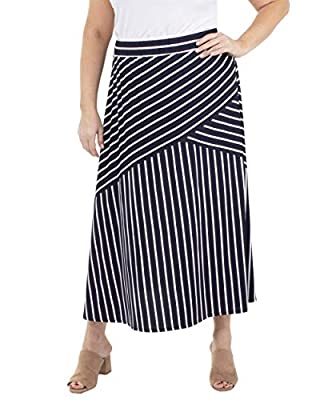 NY Collection Plus Size Diagonal Seam Elastic Waist Skirt