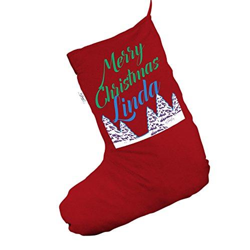 Snowy Trees personalizzato Jumbo rosso 'calza di Natale