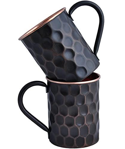 Staglife Diamond Mug Moscow Mule - Tazas y tazas de cobre con llantas de cobre de oro rosa para hombre, juego de 2 / 20 onzas