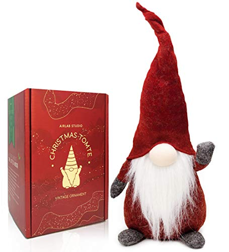 Airlab Gnomo di Natale Decorazioni Natalizie 49 cm di Altezza, Natalizie Fatte a Mano Tomte Babbo Natale, Regali Nani scandinavi, Decorazioni Natalizie, Rosso