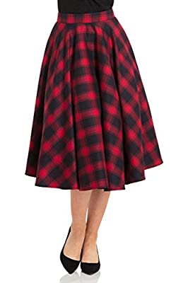 Voodoo Vixen May Checked Plaid Retro 50s Full Circle Swing Dance Skirt