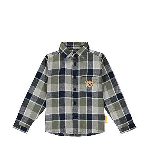 Steiff Jungen mit süßer Teddybärapplikation Hemd Langarm, Navy, 080