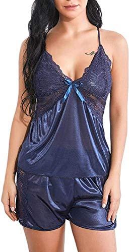 Lencería Y Ropa Interior para Mujer Lencería y para Mujer Conjunto De Lencería y para Mujer Lencería y para Mujer Conjunto De Pantalones Cortos Camisola Pijamas-Blue_XL