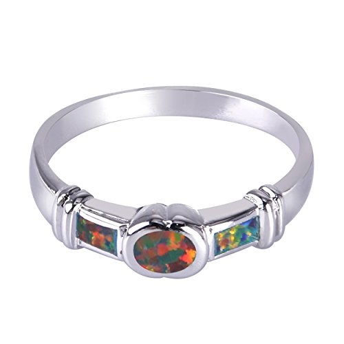 Anillos de mujer KELITCH, anillo de apilamiento de doble línea para niñas, anillo de cuerda trenzada, luna plateada con ópalo blanco redondo 68D-9