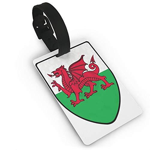 Etiquetas de equipaje de viaje de PVC de dragón rojo galés con etiquetas de identificación titular de la tarjeta de visita