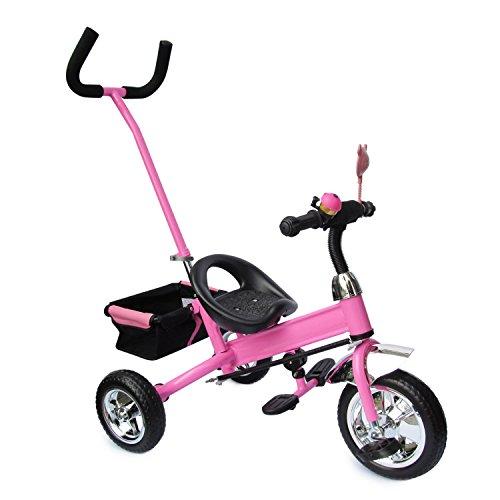 Kinderdreirad mit SERVOLENKUNG pink, Kinderfahrrad, Korb, drehbare Lenkstange mit Steuerung, Beinstellen, Dreiräder