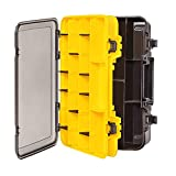 LESOVI Large Tackle Box with Secure Locks, Adjustable Divider Removable 33 Compartments Hardware Box Storage for Hook, Bait, Reel, Swivel, Hardware, Screws, Bolts (Yellow-Extra Large Tackle Box)