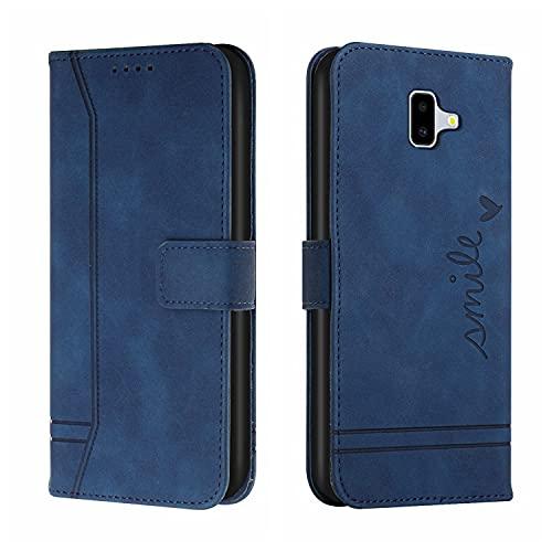 LUSHENG Billetera Funda para Galaxy J6+, con Soporte Ranuras para Tarjetas A Prueba de choques Cuero PU TPU Suave Voltear Cover Compatible con Samsung Galaxy J6 Plus / J6+ 6.0' - Azul