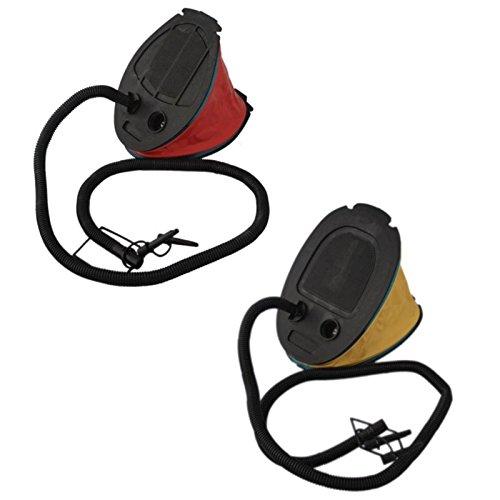 Megaprom 2L Blasebalgpumpe mit Ventilaufsätze | Luftmatratze Luftpumpe | Tretpumpe | Fußpumpe | Blasebalg für Luftbett und Planschbecken