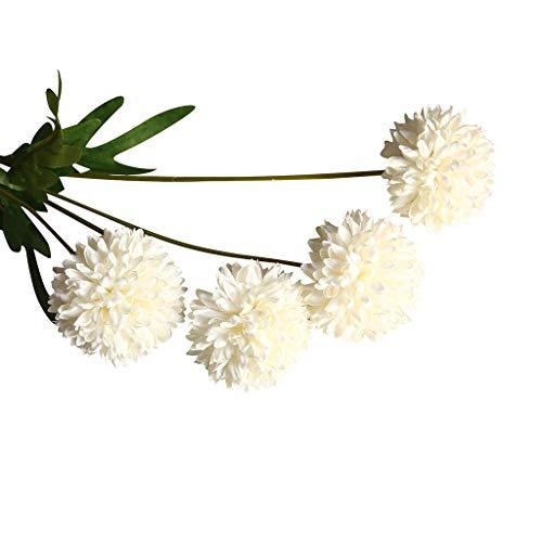 HEFYBA Kunstblumen Pusteblume für Grabblumen Pfad, grüne Blätter, Löwenzahnpflanze, 4 Stück, Stoff, F, AS SHOWN