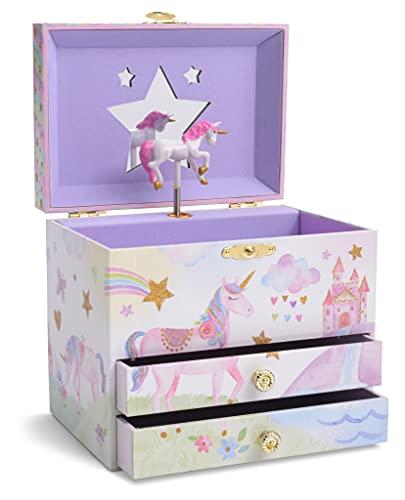 Jewelkeeper - Portagioie Carillon con 2 Cassetti Estraibili, Design Glitterato con Arcobaleno e Stelle con Unicorno - Musica Dell'Unicorno