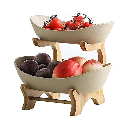 PetKids Portafrutta Alzatina a 2 Piani Porta Frutta fruttiera Ceramica per Frutta, Verdura, Pane, Snack, Piatti di Frutta, Cesto di Frutta, Verdura, Dolci
