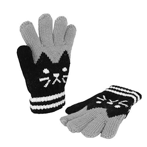 Kinder Fingerhandschuhe Herbst Winter Warm Handschuhe Fäustlinge mit Plüsch Futter Süß Gloves Skihandschuh, 3-8 Jahre alt, Skifahren Snowboarding Spielen Laufen Bedarf