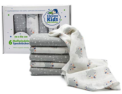 Clevere Kids Mulltücher   6er-Pack   Kleiner Fuchs hellgrau und Sterne   OEKO-TEX   doppelt gewebt   70x80   Spucktücher (Fuchs & Stars)