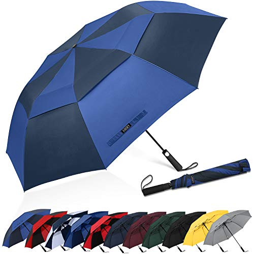 G4Free 62inch Portable Golf Umbrella Automatic Open Large Oversize Vented Double Canopy Windproof Waterproof Sport Umbrellas(Navy/Royal Blue)