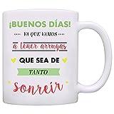 MUGFFINS Taza Original - ¡Buenos días! Ya Que Vamos a Tener Arrugas Que Sea de Tanto sonreir - 350 ml - Tazas con Frases...