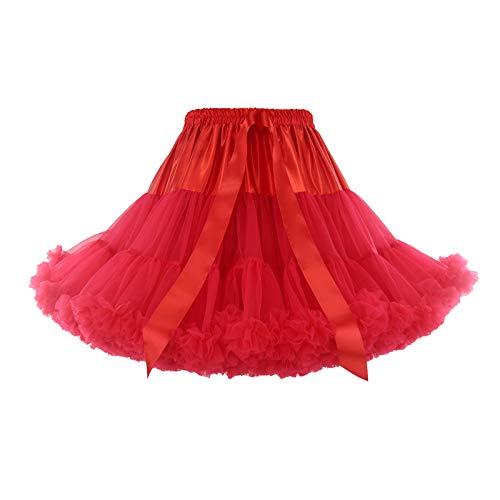 Ballkleid Unterrock Rockabilly Gelegenheit Abendkleid Damen Tüllrock Kurz Tutu 50er Petticoat Tanzen Kleider Elegant Zubehör Frauen Qualität Plissee Party Kostüm Skirt Dress (B-Rot, Einheitsgröße)