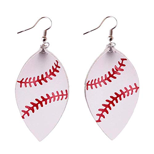 StylesILove Women Teen Girls Soccer Baseball Teardrop Round Leather Dangle Earrings Baseball Stud Earrings for Sport Ball Fans or Player (Baseball - Leaf)