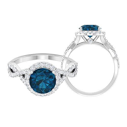 Solitär Halo Ring, 2,76 ct Runde Edelsteine, HI-SI Diamant 8 mm London Blautopas Verlobungsring, Spiralschaft Ring, Gold Seite Stein Ring, 18K Weißes Gold, Size:EU 52