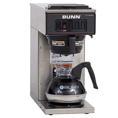 BUNN VP17-1, 12-Cup Low Profile Pourover Commercial Coffee Maker, 1 Warmer, 13300.0001