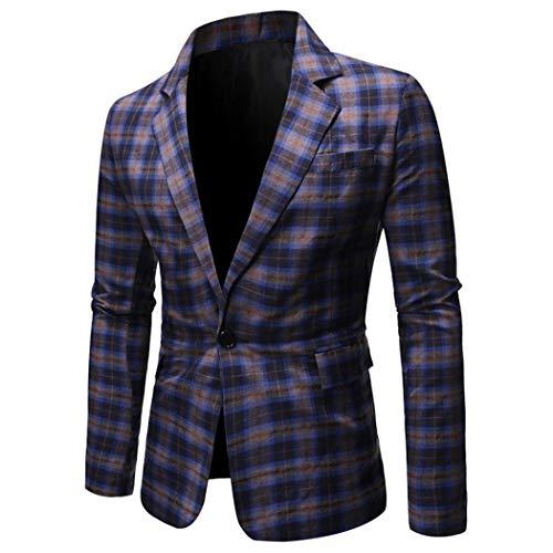 wergem Chaqueta a Cuadros para Hombre Slim Fit Un botón Cuello Vuelto Vestido Informal Chaqueta de Traje Blazers