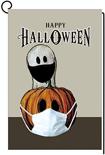 The Cozy mart Halloween Ghost Quarantine 2020 Pumpkin Mask Garden Flag Double-Sided Yard Outdoor Decorative 12.5 x 18 Inch