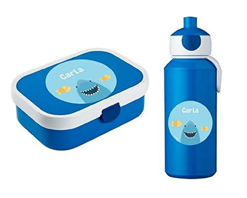 Set Pranzo BABY SHARK Borraccia Alluminio + Box Porta Merenda contenitore portamerenda pappa Bambino Squalo