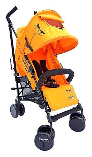 Libelulle Kikoé 2.0 Pack Crash Pad Poussette Canne Coloris Mandarin Chassis Aluminium pour 0/4 ans + Barre de Maintien Coupe Vent/Pluie