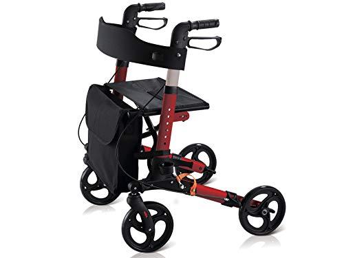 GIMA DEAMBULATORE COMPACT - Inklapbaar - rood frame van lichtgewicht aluminium met comfortabele in hoogte verstelbare zitting, gevoerde rugleuning en afneembare poten met wielen