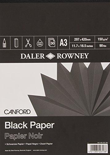 Daler Rowney - Paquete de papel de dibujo (tamaño A3, 30 hojas), color negro