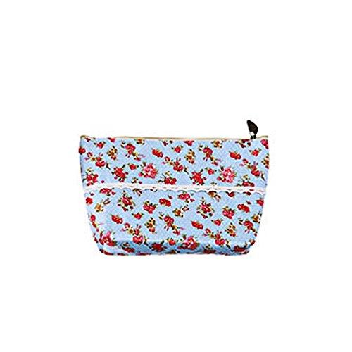 Da.Wa Sac à cosmétiques cosmétique sac de stockage des femmes bleu clair motif fleur carré lavage cosmétique sac à glissière sac de rangement
