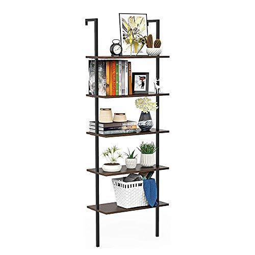 DCMTOAMZ 5-Shelf Bookshelf/Flower Stand/Storage Rack, Open Wall Mount Ladder Bookcase with Industrial Metal Frame, Wood Ladder, Black/Dark Brown Walnut