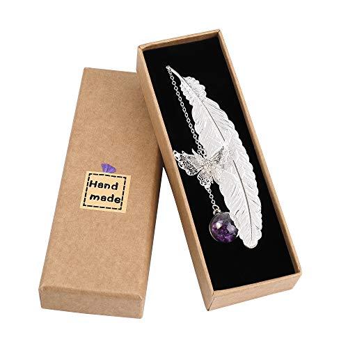 Metall Feder Lesezeichen mit Elegant Schmetterling und Glasperlen Ewige trockene Blume Anhänger, Ideales Geschenk für Erwachsene, Kinder und Studenten