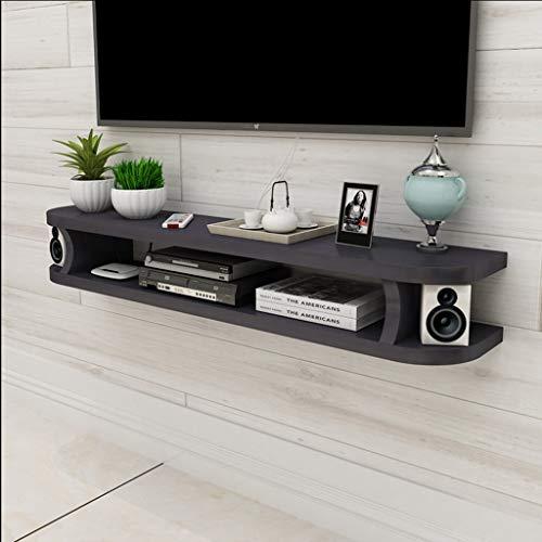LSLS TV Stand, Wall Media Console para DVD BLU-Ray Player, TV satelital, Caja de Cable, Unidad de TV, Marco Flotante estantería de Pared (Color : Black, Size : 100cm)