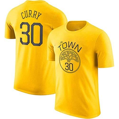 Aspecto De Deporte De La Media Manga De La NBA De Baloncesto De Manga Corta De La Camiseta Superior Guerrero Curry Thompson Durant Entrenamiento Del Algodón ( Color : Yellow 30 , Size : 3X-Large )