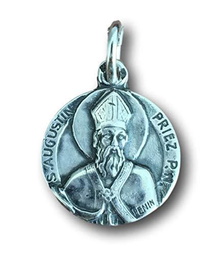 Rosa Mystica Sterling Silver St Augustine Medal -...