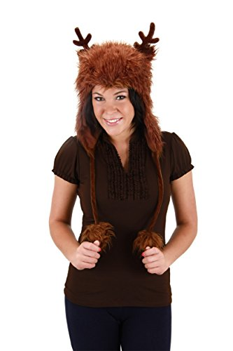 Reindeer Faux Fur Hoodie Brown Adult Costume Hat One Size