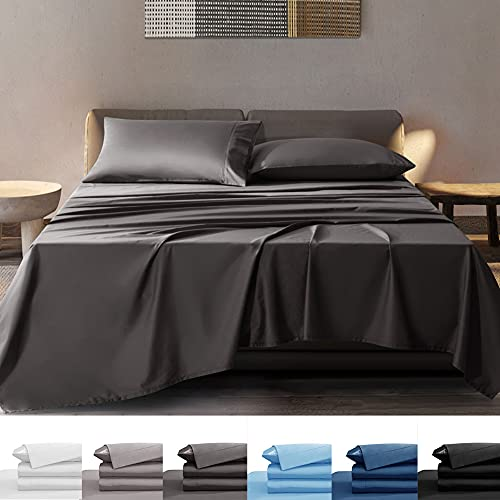 SONORO KATE 100% Bamboo Sheets Set - Super Soft Breathable Cooling Bamboo Bed Sheets - Fit 16-20 Inch Deep Pocket Silk Feel, Eco Friendly, Hypoallergenic - 6 Piece (Dark Grey, Queen)