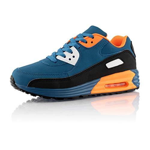 Fusskleidung® Damen Herren Sportschuhe Dämpfung Sneaker leichte Laufschuhe Blau Schwarz Orange Weiß EU 42